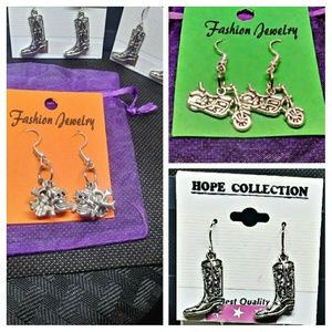Lot of 3 earings. Boots, Bike & Skulls.